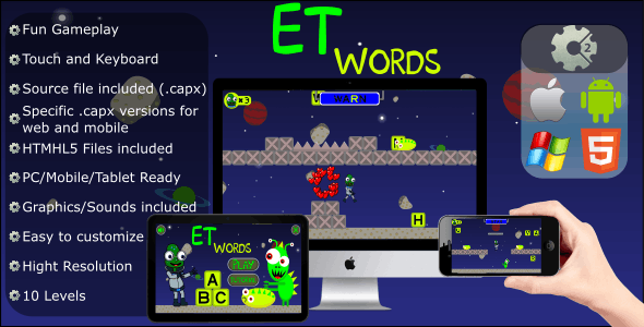ET Words - Educational Game (.CAPX Web and Mobile) HTML5 files