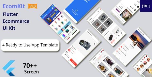 Flutter Ecommerce UI Kit | 4 Apps | 3 Ecommerce App UI | 1 Delivery Boy App UI | EcomKit