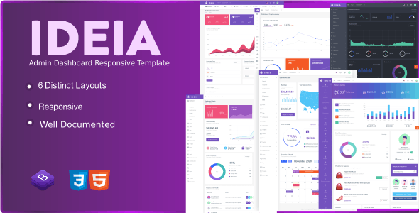 Ideia Admin Dashboard Responsive Template - CodeCanyon Item for Sale