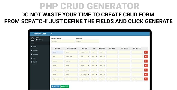 PHP CRUD Generator - CodeCanyon Item for Sale