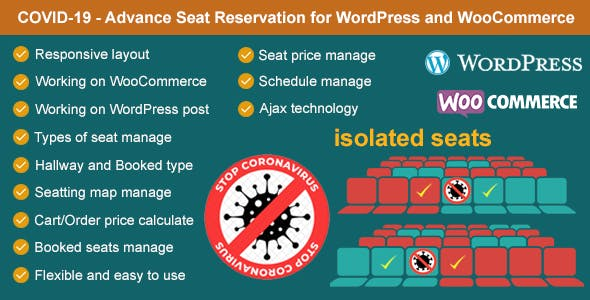 Covid-19 - Seat Reservation Management for WordPress and WooCommerce