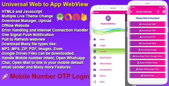 Android Native Rocket Speed WebView App Full Template With Mobile OTP Login - CodeCanyon Item for Sale