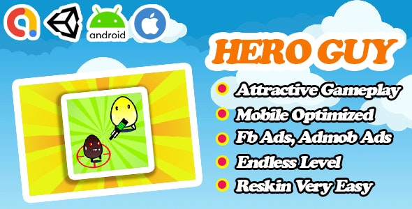 Hero Guy - Action Survival Unity Game Template - Admob + Facebook Ads - Ready To Publish - CodeCanyon Item for Sale