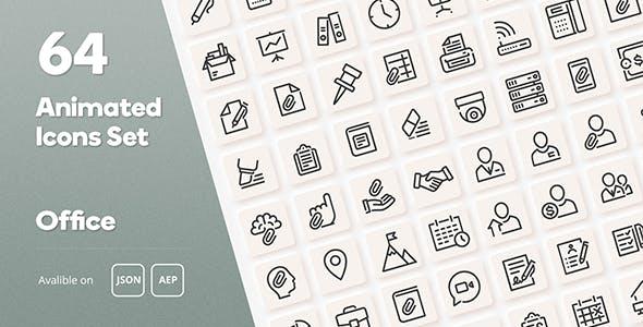 Office Animated Icons Set - Wordpress Lottie JSON SVG