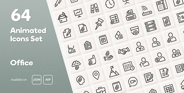 Office Animated Icons Set - Wordpress Lottie JSON SVG - CodeCanyon Item for Sale