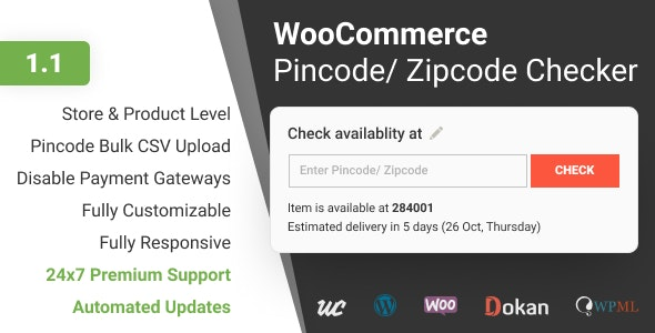 WooCommerce Pincode/ Zipcode Checker - CodeCanyon Item for Sale
