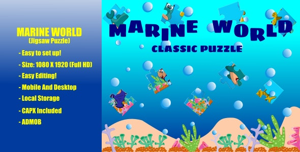 Marine World | Classic Puzzle | Jigsaw Puzzle | Construct 2 | Admob - CodeCanyon Item for Sale