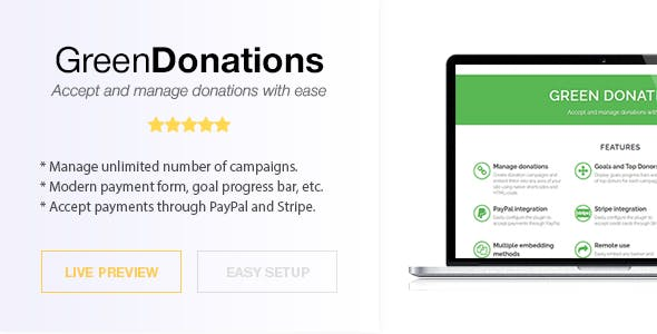 Green Donations for WordPress - Accept and Manage Donations
