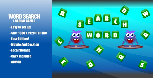 Word Search | Casual Game | Construct 2 | Admob - CodeCanyon Item for Sale