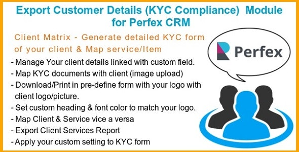 Export Customer Details (KYC Compliance)  Module for Perfex CRM - CodeCanyon Item for Sale