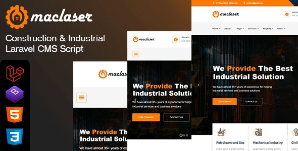 Maclaser - Construction & Industrial Laravel CMS Script - CodeCanyon Item for Sale