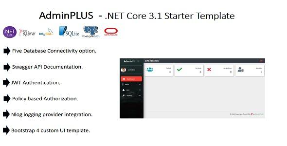 AdminPLUS - .NET Core 3.1 Starter Admin Template