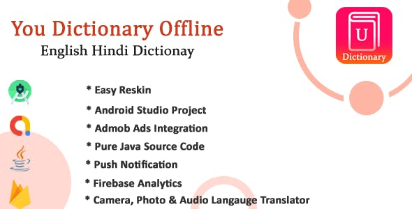 U-Pro dictionary app with All Languages Translator with Admob Ads, Firebase Notification
