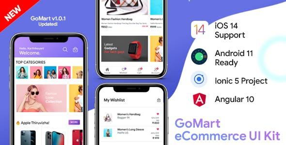 GoMart Ecommerce Android App + Ecommerce iOS App Template   Ecommerce App   IONIC 5   Angular 10