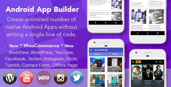 Android App Builder - WooCommerce, WebView, Wordpress & much more