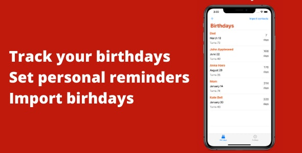 Birthday Reminder & Tracker - CodeCanyon Item for Sale