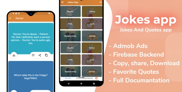 Jokes and Quotes App with Firebase Admin Panel , Facebook and Admob Ads - CodeCanyon Item for Sale