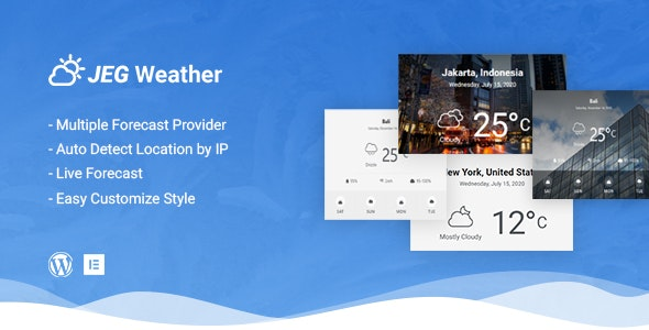 Jeg Weather Forecast WordPress Plugin - Add Ons for Elementor and WPBakery Page Builder - CodeCanyon Item for Sale
