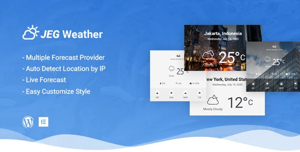 Jeg Weather Forecast WordPress Plugin - Add Ons for Elementor and WPBakery Page Builder