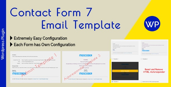 Contact Form 7 Email Template - email Template Configuration for Admin and Autoresponder - CodeCanyon Item for Sale