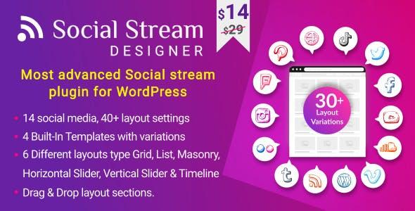 Social Stream Designer - Instagram Facebook Twitter Feed - Social media Feed Grid Gallery Plugin