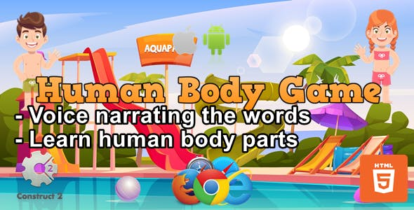 Human Body Game for Kids - Educational Game - HTML5 (.Capx)