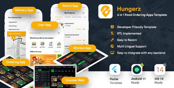 6 in 1 multi Restaurant Food Ordering App|Food Delivery App|Android+iOS App Template|Flutter Hungerz