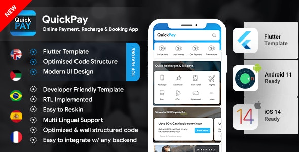 Recharge Ticket Booking & Bill  Online Payment Android App+ Online Payment iOS App Template  Flutter - CodeCanyon Item for Sale