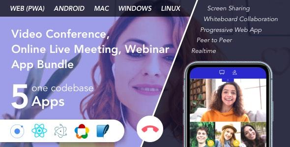 Teammeet - Video Conference, Online Live Meeting, Webinar App Bundle (Web, Android & Desktop) - CodeCanyon Item for Sale