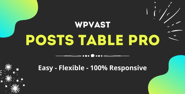 Wpvast Posts Table Pro - CodeCanyon Item for Sale