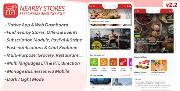 Nearby Stores Android - Offers, Events, Multi-Purpose, Restaurant, Market - Subscription & WEB Panel