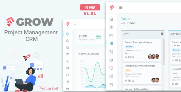 Grow - Project Management CRM With Invoicing Estimates Leads And Tasks - CodeCanyon Item for Sale