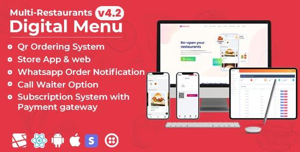 Chef - Multi-restaurant Saas - Contact less Digital Menu Admin Panel with - React Native App