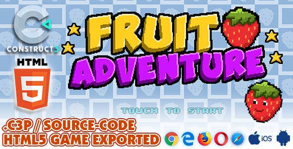 Fruit Adventure HTML5 Game - With Construct 3 All Source-code (.c3p)
