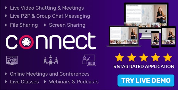 Connect - Live Video & Chat Messaging, Live Class, Meeting, Webinar, Conference, File Sharing - CodeCanyon Item for Sale
