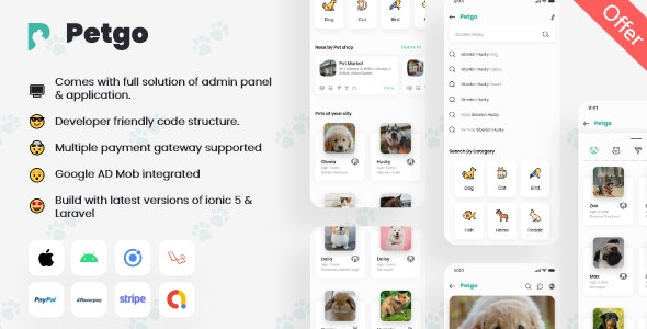 Pet Classified App with Adminpanel | Ionic 5 | Laravel | PetGo - CodeCanyon Item for Sale