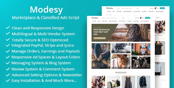 Modesy - Marketplace & Classified Ads Script - CodeCanyon Item for Sale