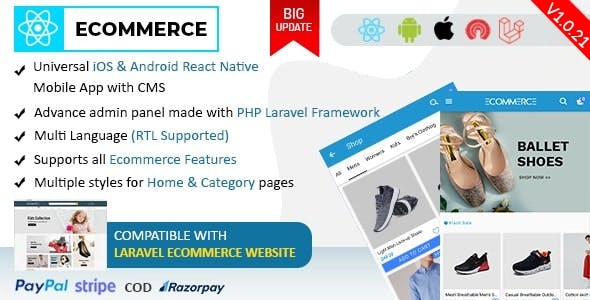 React Ecommerce - Universal iOS & Android Ecommerce / Store Full Mobile App with PHP Laravel CMS