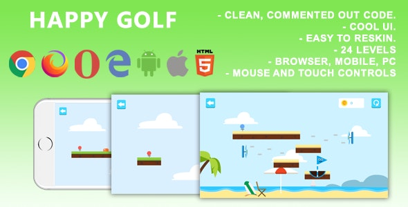 Happy Golf. Mobile, Html5 Game. .c3p (Construct 3) - CodeCanyon Item for Sale