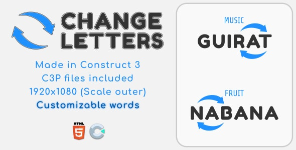 Change Letters - HTML5 Educational Game - CodeCanyon Item for Sale