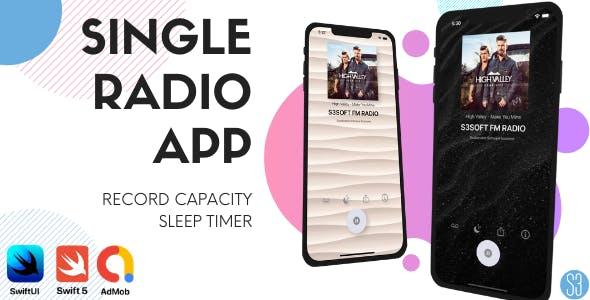 Single Full Radio App (iOS, Swift, SwiftUI, Radio Station, Internet FM Radio)