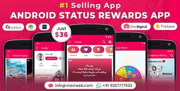 Android Status App With Reward Point (Lucky Wheel, WA Status Saver, Video, GIF, Quotes & Image)