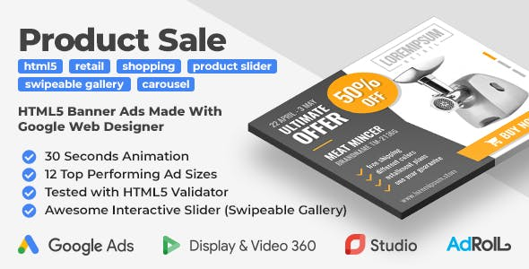 Retail - Product Sale HTML5 Banner Ad Templates with Swipeable Gallery (GWD)