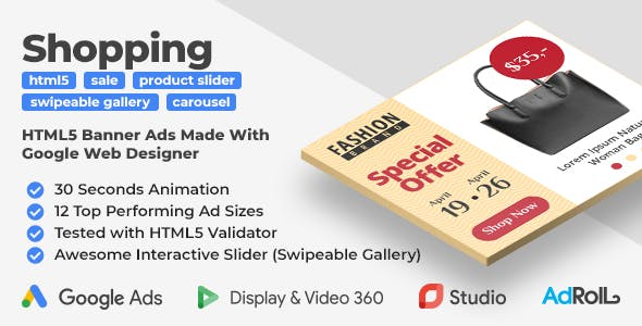 Accessories - Shopping HTML5 Banners with Swipeable Gallery (GWD)