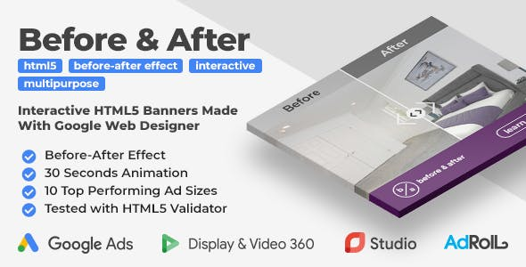 Before & After - Multipurpose Interactive HTML5 Banner Ad Templates (GWD)