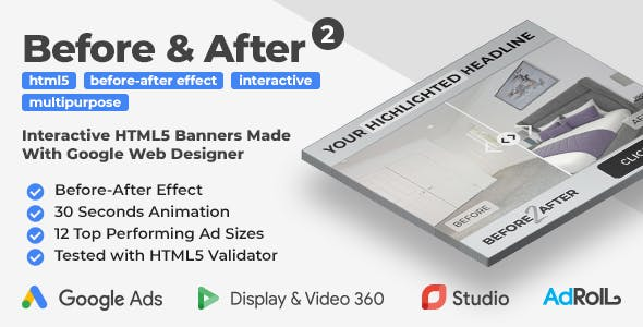 Before & After 2 - Multipurpose Interactive HTML5 Banner Ad Templates (GWD)