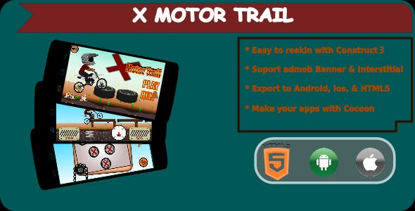 X Motor Trail - HTML5 Mobile Game (Construct 3)