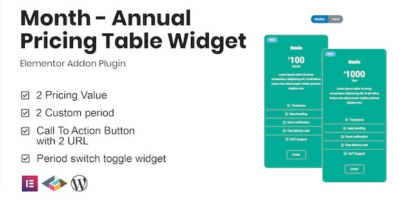 Month - Annual Pricing Table Widget For Elementor - CodeCanyon Item for Sale