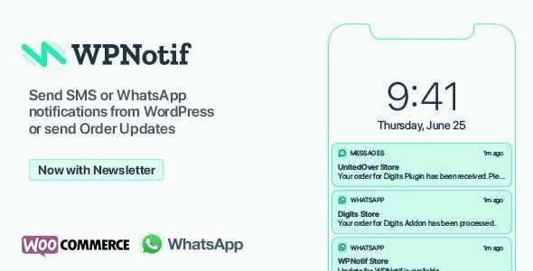 WPNotif: WordPress SMS & WhatsApp Message Notifications - CodeCanyon Item for Sale