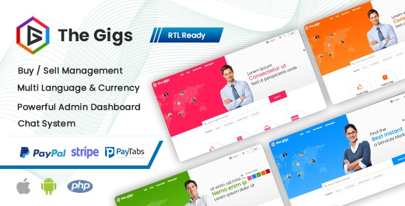Thegigs - Freelance Marketplace Script with Admin panel(Web + Android + IOS) - CodeCanyon Item for Sale